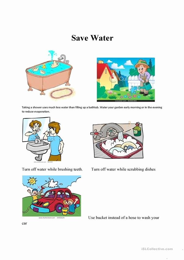 Water Worksheets for Preschoolers Unique Save Water English Esl Worksheets for Distance Learning and