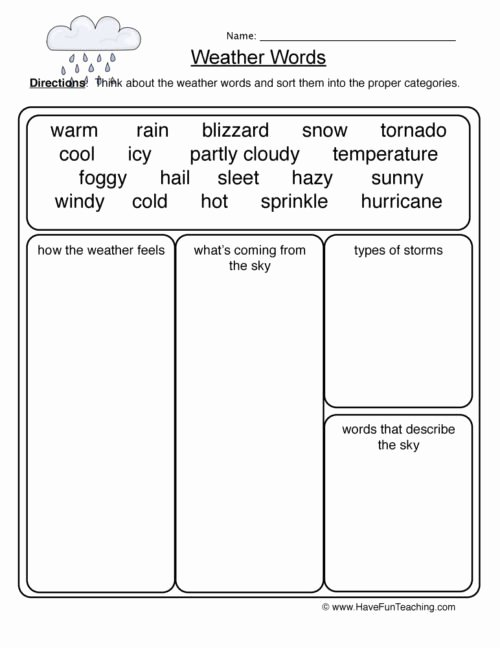 Weather Worksheets for Preschoolers Beautiful Weather Worksheets • Have Fun Teaching