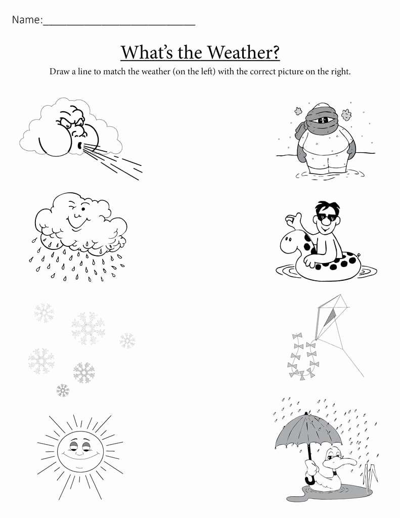 "Weather Worksheets for Preschoolers Beautiful What S the Weather "" Free Printable Matching Worksheet"