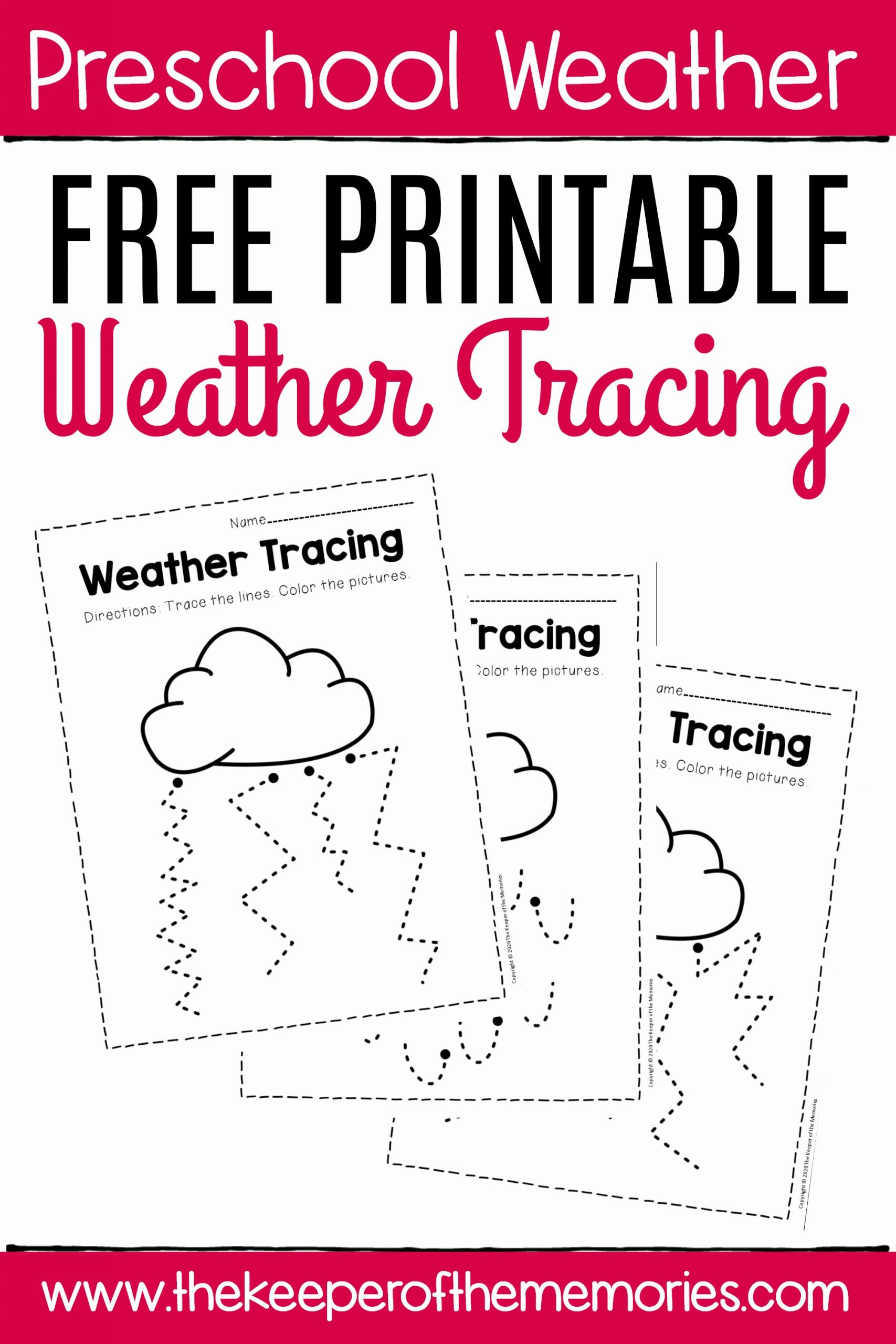 Weather Worksheets for Preschoolers Lovely Free Printable Storm Clouds Tracing Weather Preschool