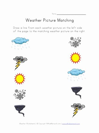 Weather Worksheets for Preschoolers Lovely Weather Worksheet Picture Matching