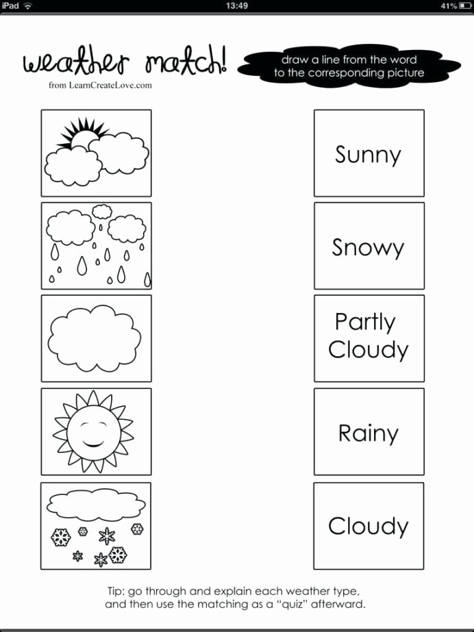 Weather Worksheets for Preschoolers Unique Free 1st Grade Worksheet Science Preschool Weather