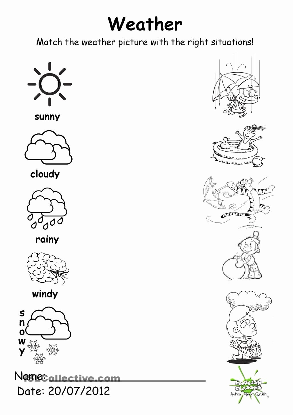 Weather Worksheets for Preschoolers Unique Weather Match with Images