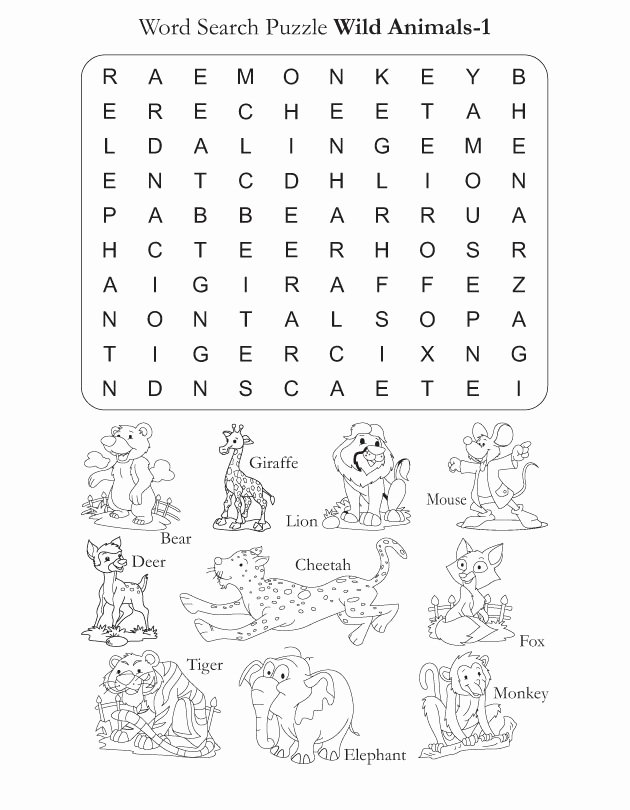 Wild Animal Worksheets for Preschoolers Beautiful Preschool Word Search Puzzle Wild Animals 1