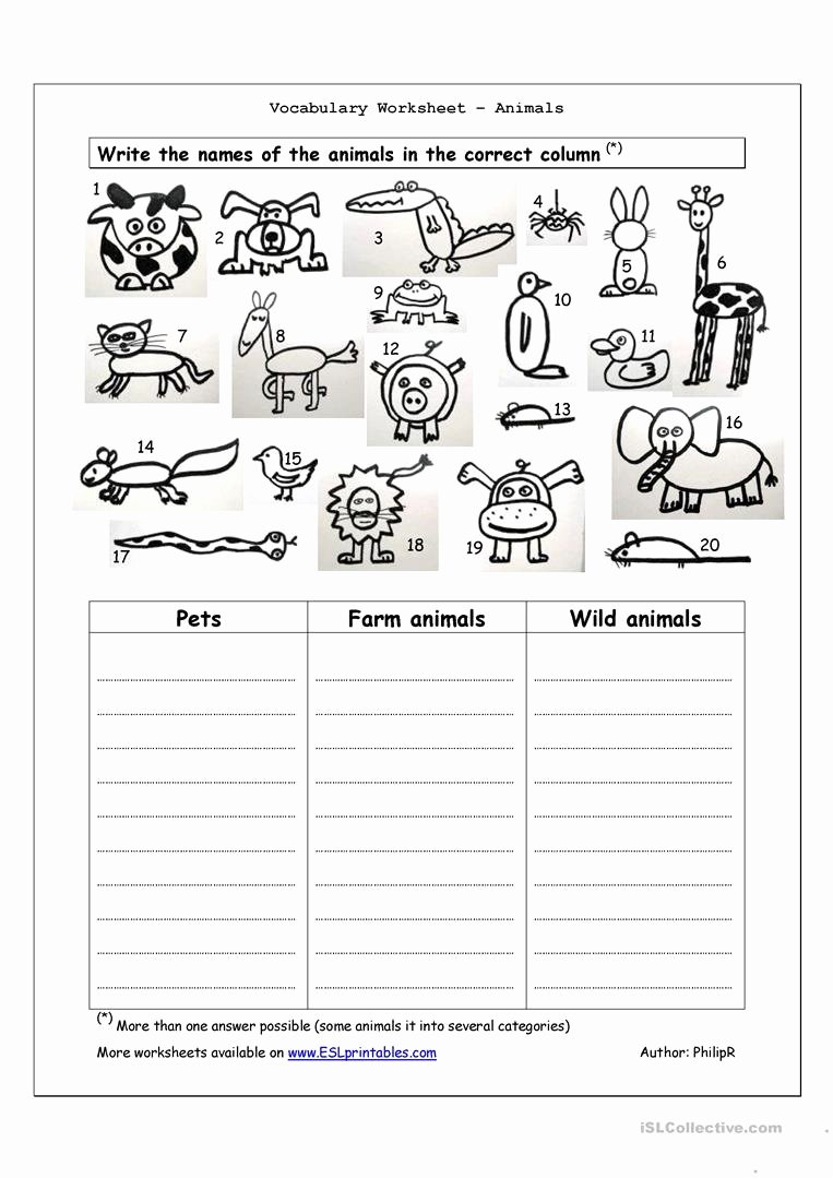Wild Animal Worksheets for Preschoolers Fresh Vocabulary Worksheet Animals English Esl Worksheets for Fun