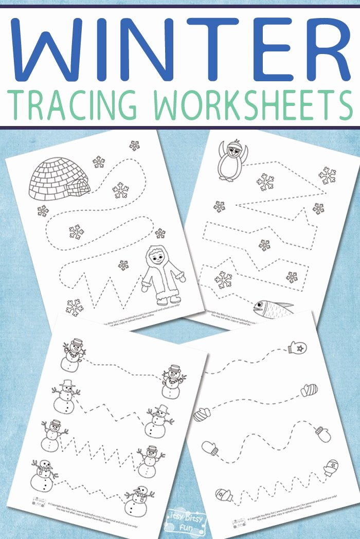 Winter Activity Worksheets for Preschoolers Beautiful Winter Tracing Worksheets for Kids Itsybitsyfun