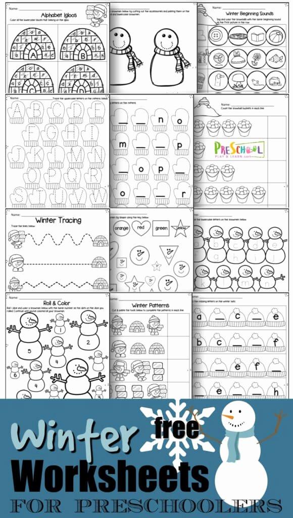 Winter Activity Worksheets for Preschoolers Beautiful Winter Worksheets for Preschool themed Preschoolers 580x1024