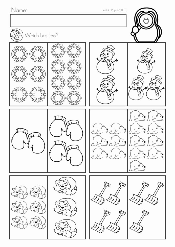 Winter Math Worksheets for Preschoolers Awesome Worksheet Winter Math Worksheetsties No Prep Preschool
