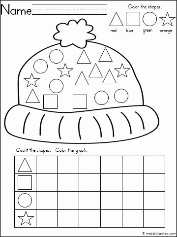Winter Worksheets for Preschoolers top Winter Hat theme Graphing Shapes Activity