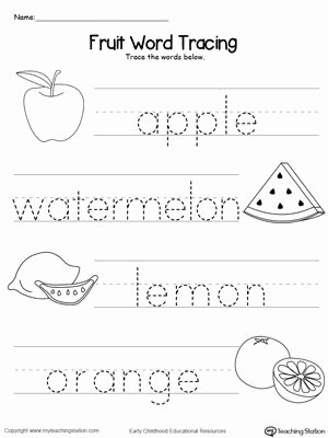Word Tracing Worksheets for Preschoolers Fresh Fruit Word Tracing