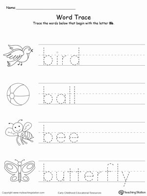 Word Tracing Worksheets for Preschoolers Inspirational Trace Words that Begin with Letter sound B