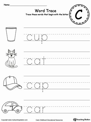 Word Tracing Worksheets for Preschoolers Lovely Trace Words that Begin with Letter sound C
