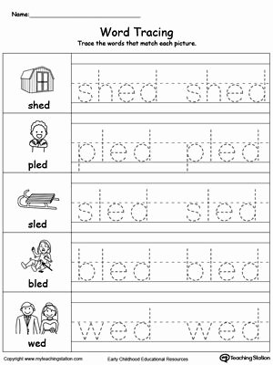 Word Tracing Worksheets for Preschoolers Lovely Word Tracing Ed Words