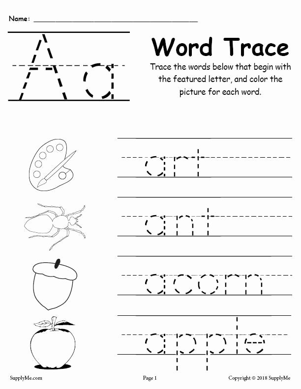 Word Tracing Worksheets for Preschoolers top Alphabet Word Tracing Worksheets Supplyme Free Printable