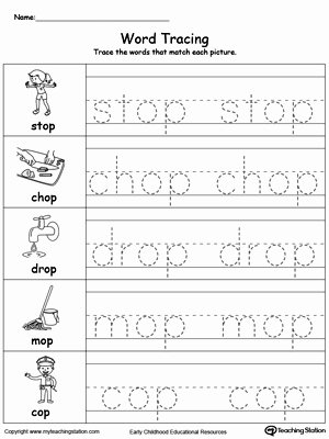 Word Tracing Worksheets for Preschoolers top Coloring Pages Word Tracing Op Words Myteachingstation