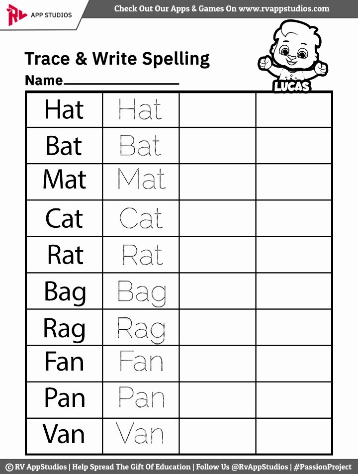 Word Tracing Worksheets for Preschoolers Unique Trace and Write Spelling Words Worksheets Free Printable