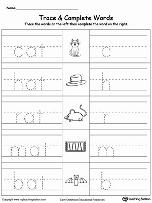 Word Tracing Worksheets for Preschoolers Unique Worksheet at Word Family Trace and Write Myteachingstation