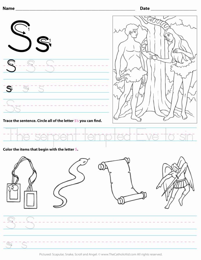 Worksheets for Preschoolers Alphabet Awesome Catholic Alphabet Letter Worksheet Preschool Kindergarten