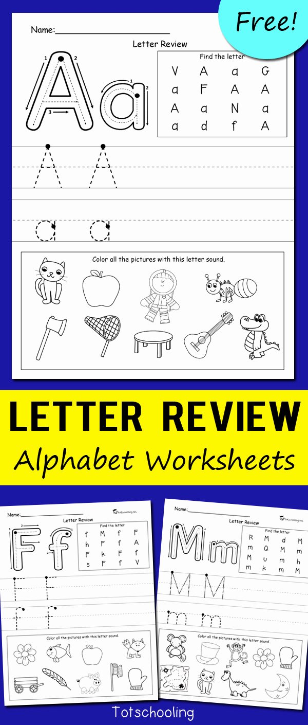 Worksheets for Preschoolers Alphabet top Letter Review Alphabet Worksheets