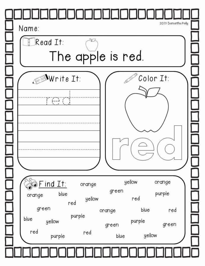 Worksheets for Preschoolers Colors Lovely Crazy for Colors Kindergarten Preschool Worksheets Red