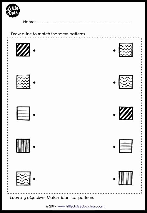 Worksheets for Preschoolers Matching Awesome Free Patterns Matching Worksheet for Pre K or Kindergarten