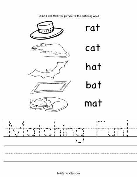 Worksheets for Preschoolers Matching Best Of Matching Fun Worksheet Twisty Noodle