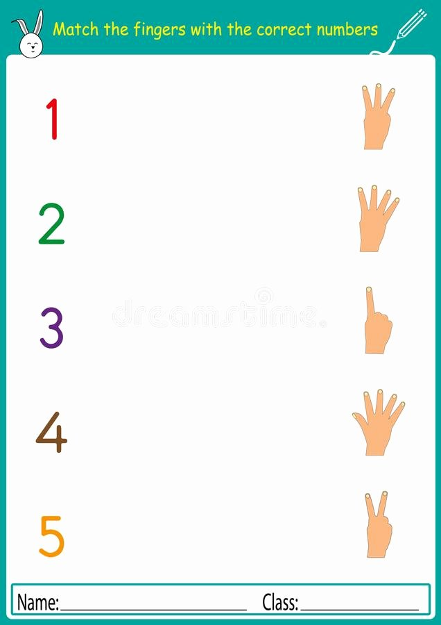 Worksheets for Preschoolers Matching Lovely Match the Fingers with the Correct Numbers Math Worksheet