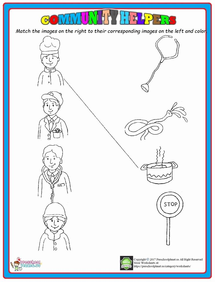Worksheets for Preschoolers Matching Lovely Munity Helpers Matching Worksheet – Preschoolplanet