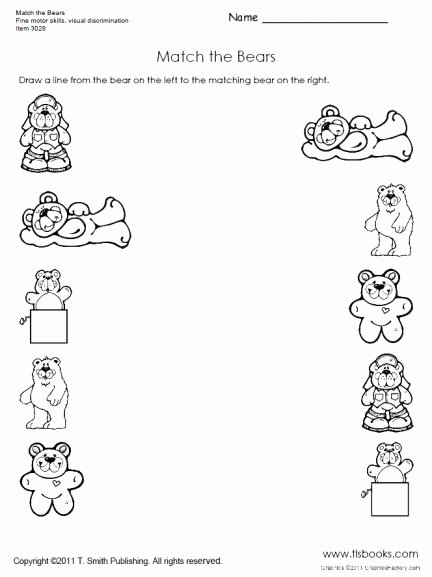 Worksheets for Preschoolers Matching New Match the Bears Preschool Worksheet