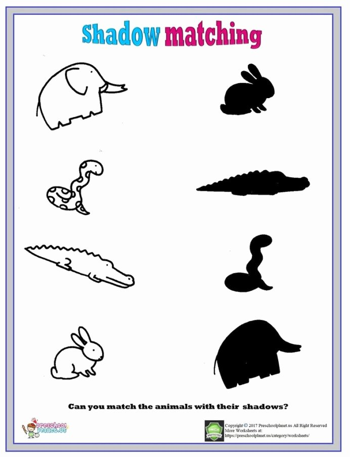 Worksheets for Preschoolers Matching top Shadows Matching Worksheet Shadow Have Flickr Worksheets for