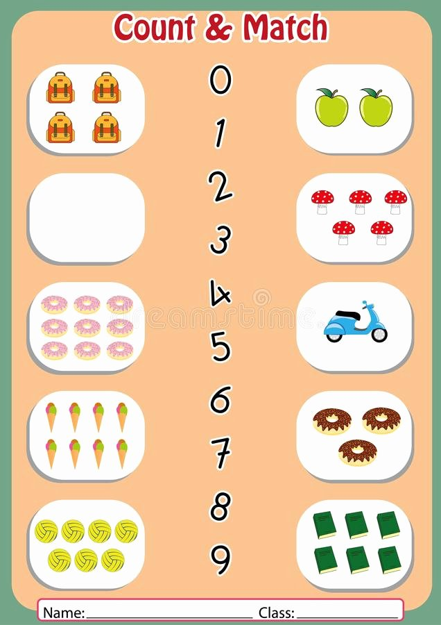 Worksheets for Preschoolers Matching Unique Match the Numbers to the Objects Worksheet for Preschool