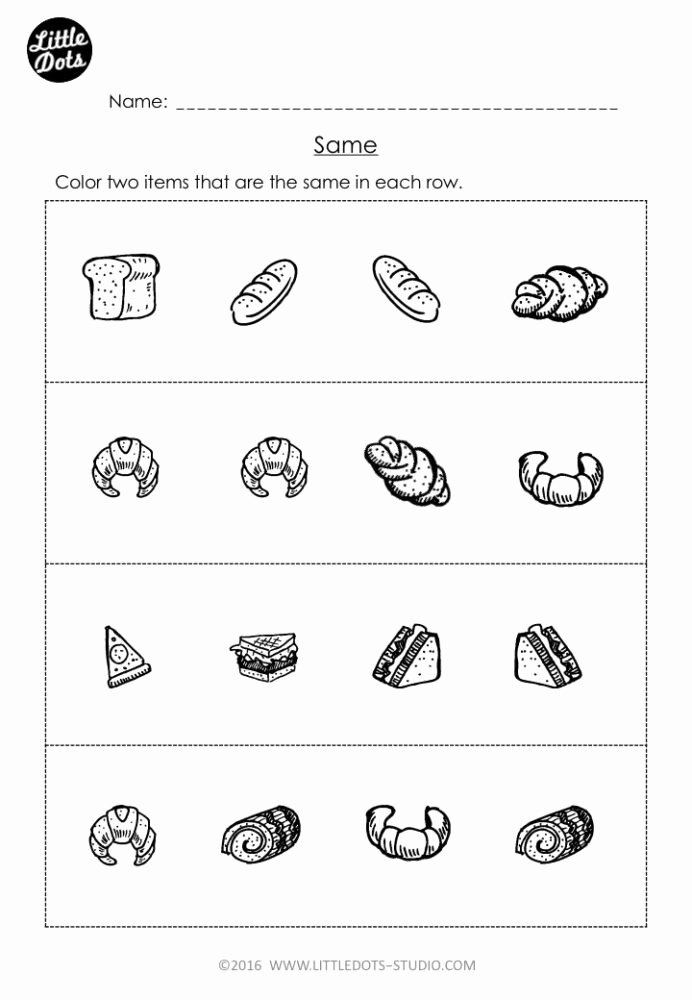 Worksheets for Preschoolers Math Fresh Free Same and Different Worksheet for Pre Preschool Math