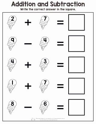 Worksheets for Preschoolers Math Lovely Worksheet Summer Addition and Subtraction Worksheets Itsy