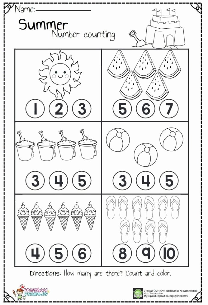 Worksheets for Preschoolers Math top Counting Worksheets Hs for Summer Kindergarten Preschool