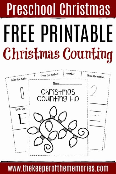 Worksheets for Preschoolers Numbers New Free Printable Numbers Christmas Preschool Worksheets