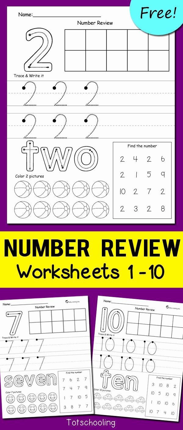 Worksheets for Preschoolers Numbers New Number Review Worksheets