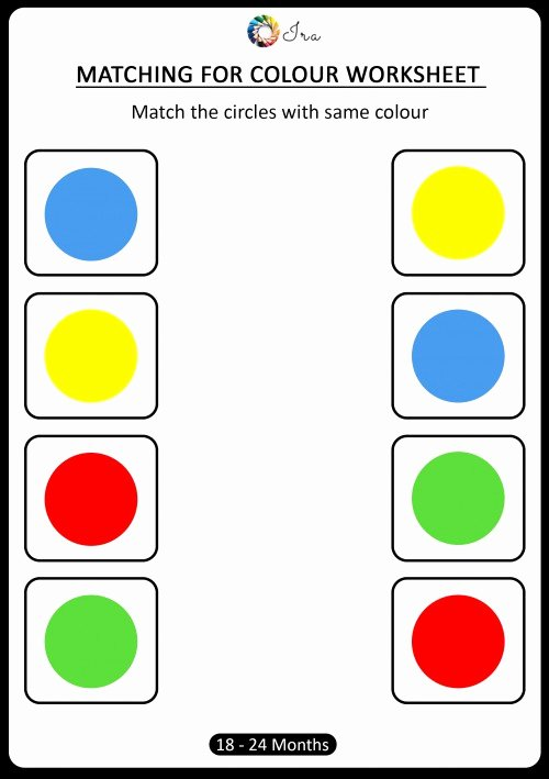 Worksheets for Preschoolers On Colors Awesome Free Downloadable Matching Colors Worksheets 18 24 Months