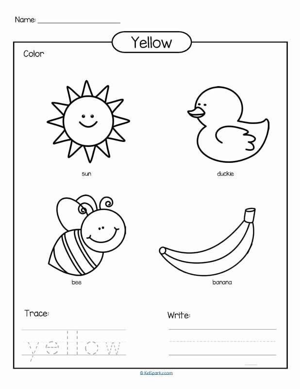 Worksheets for Preschoolers On Colors Beautiful Color Yellow Printable Color Trace and Write