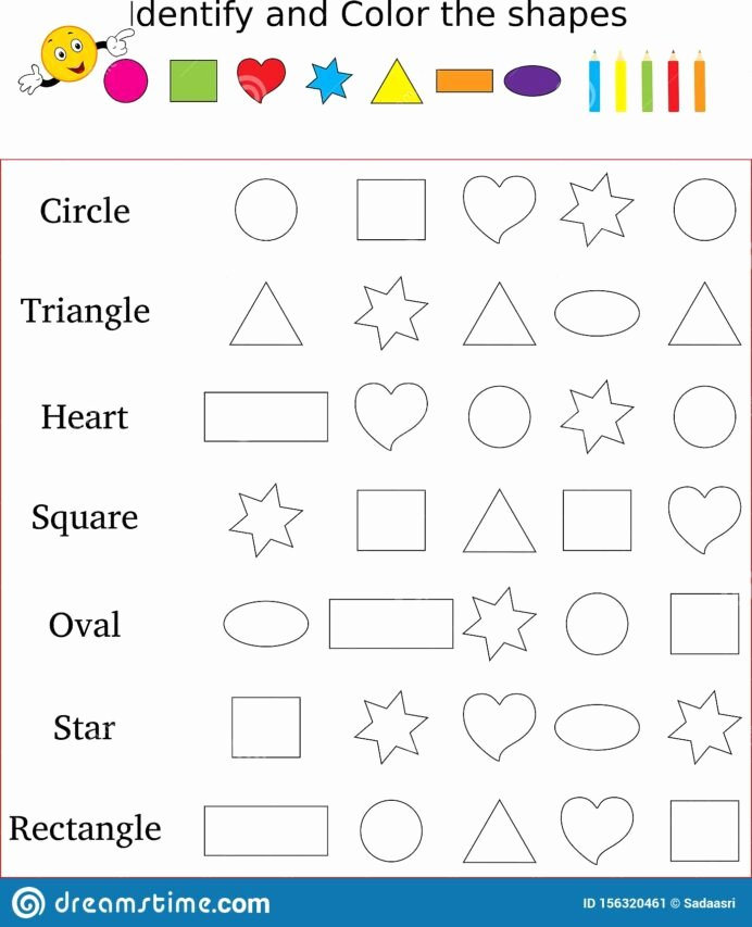 Worksheets for Preschoolers On Colors Best Of Identify and Color the Correct Shape Worksheet Stock Image