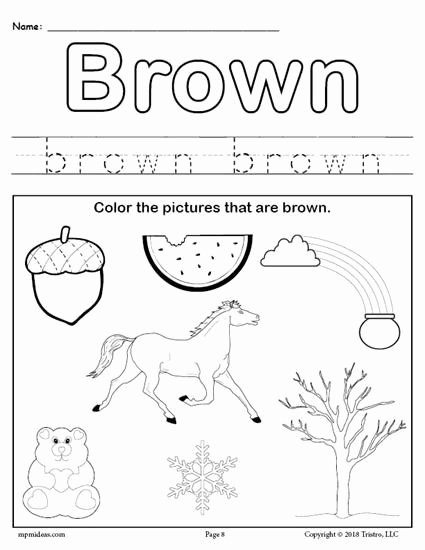 Worksheets for Preschoolers On Colors top Free Printable Color Brown Worksheet Color Brown Worksheets