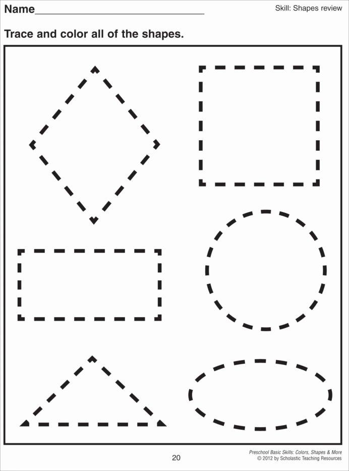 Worksheets for Preschoolers Printable New Cutting Shapes Worksheets Kindergarten Preschool Printable