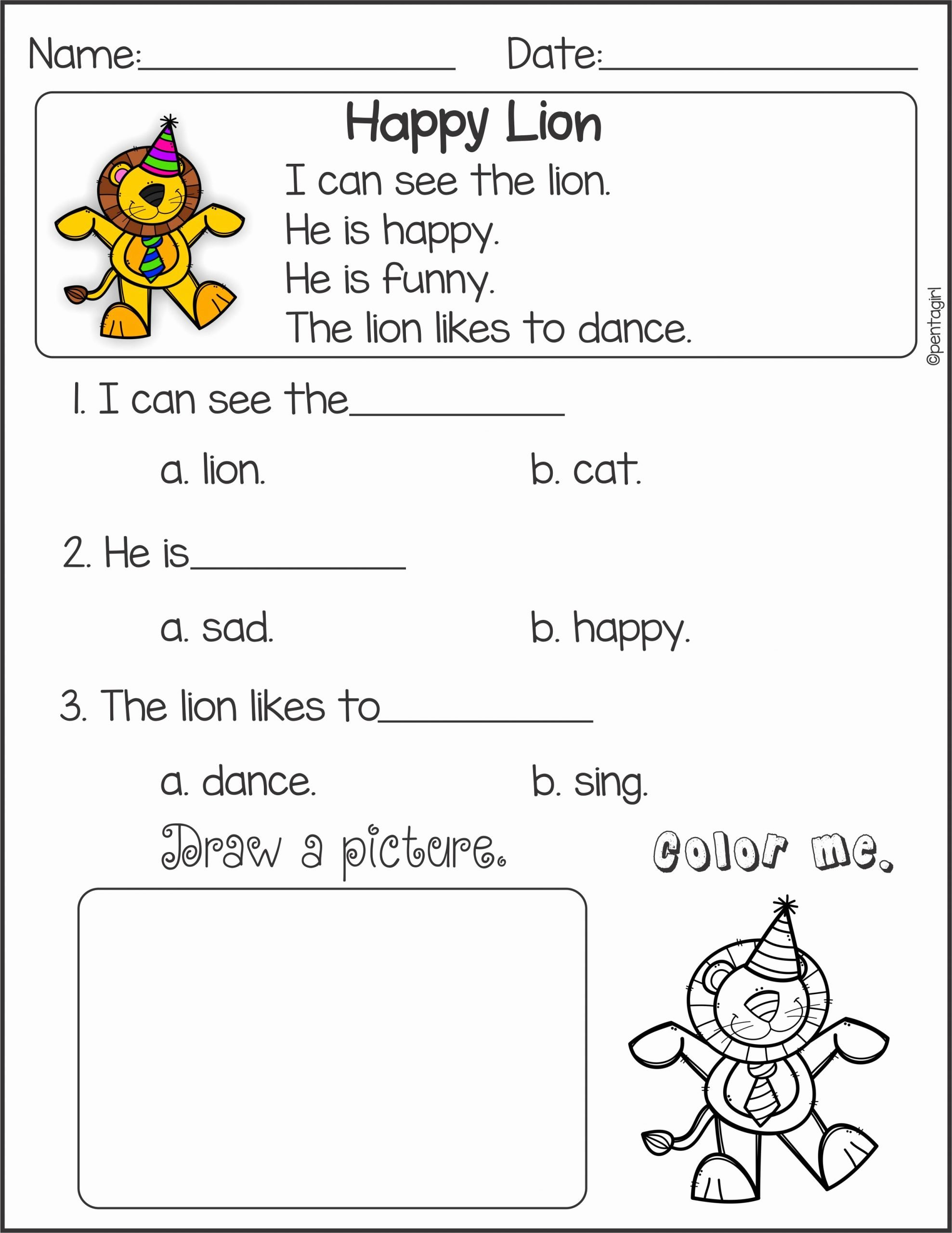 Worksheets for Preschoolers Reading Fresh Reading Prehension Worksheet Kindergarten Beautiful Kids