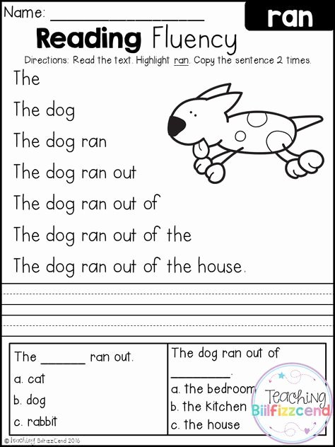 Worksheets for Preschoolers Reading New Free Reading Fluency and Prehension Set 2
