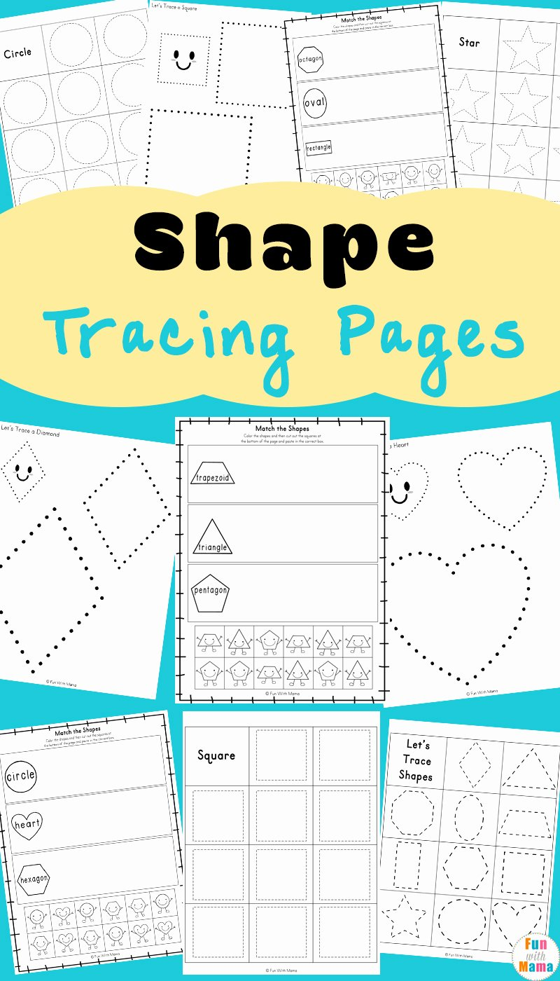 Worksheets for Preschoolers Shapes Beautiful Tracing Shapes Worksheets Fun with Mama