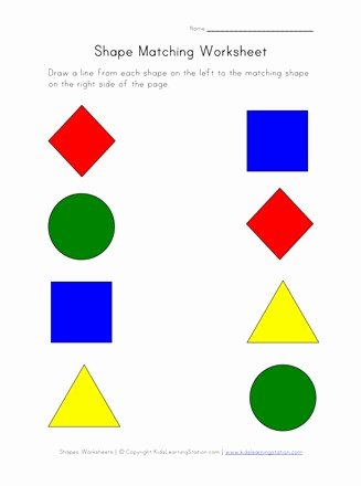 Worksheets for Preschoolers Shapes Inspirational Printable Shapes Worksheet Match Shapes
