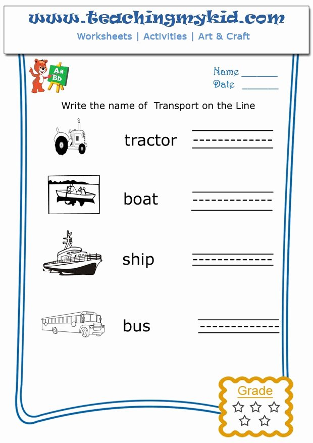 Worksheets for Preschoolers to Write their Name Beautiful Write the Name Each Transport Archives Teaching My Kid