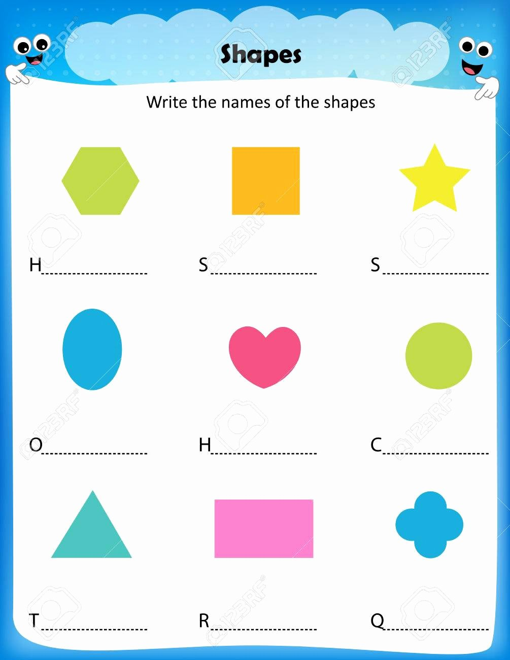 Worksheets for Preschoolers to Write their Name Inspirational Worksheet Write the Names Of the Shapes Worksheet for Preschool
