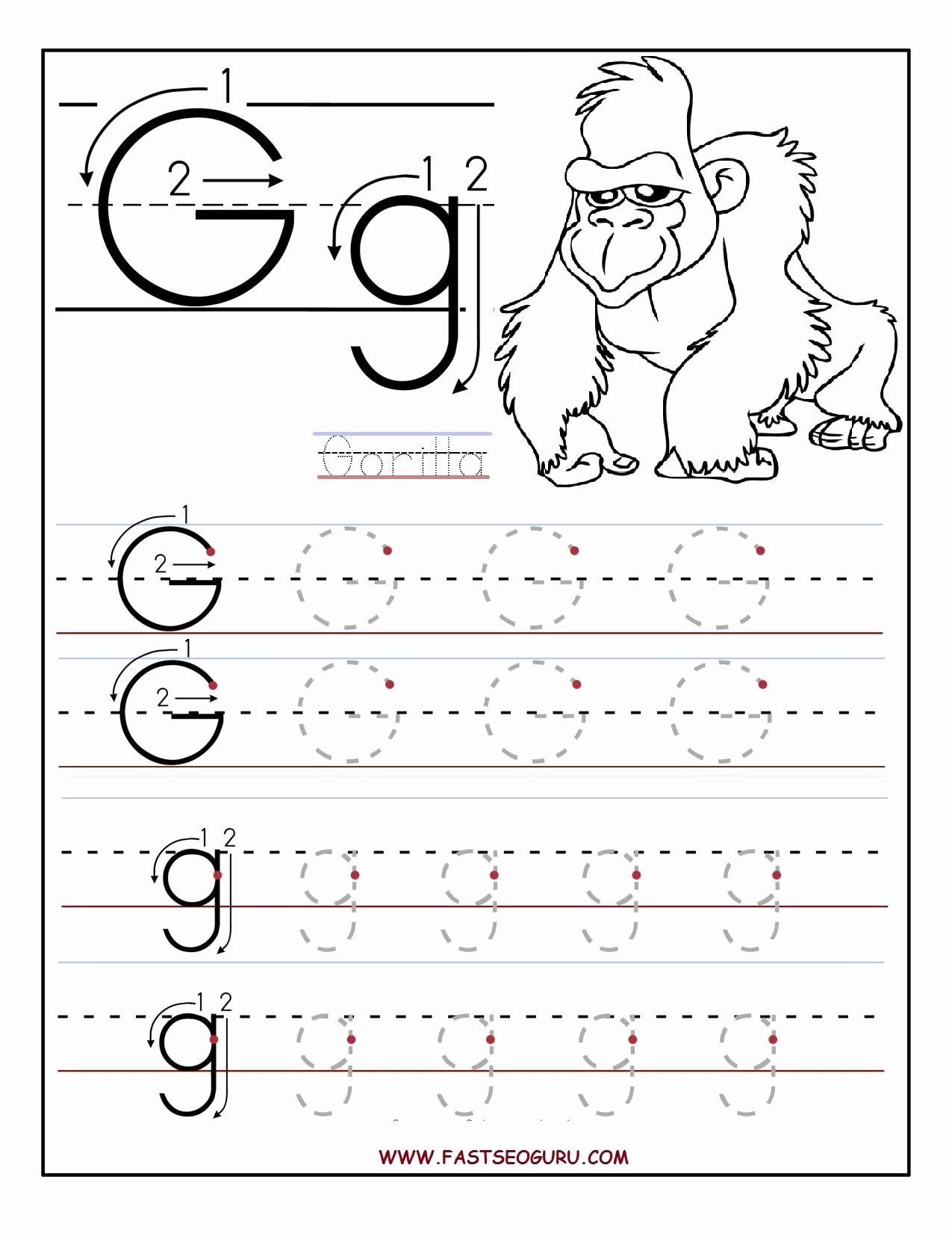 Worksheets for Preschoolers Tracing Letters Best Of Printable Letter G Tracing Worksheets for Preschool