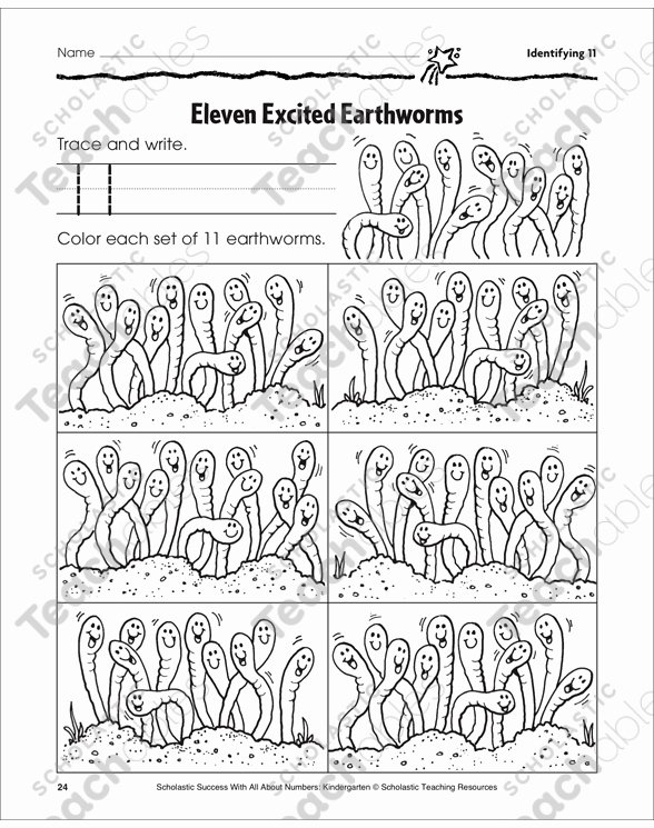 Worm Worksheets for Preschoolers Best Of Eleven Excited Earthworms Identifying Number Practice