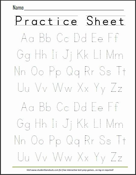 Writing Abc Worksheets for Preschoolers top Print Abcs Dashed Handwriting Practice Worksheet